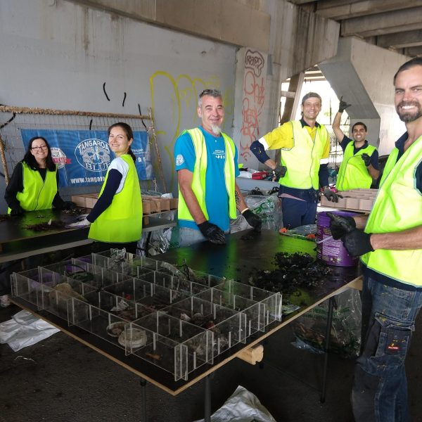 Volunteers are sorting through litter collected from 120 stormwater traps installed under the Let's Strain the Drains project