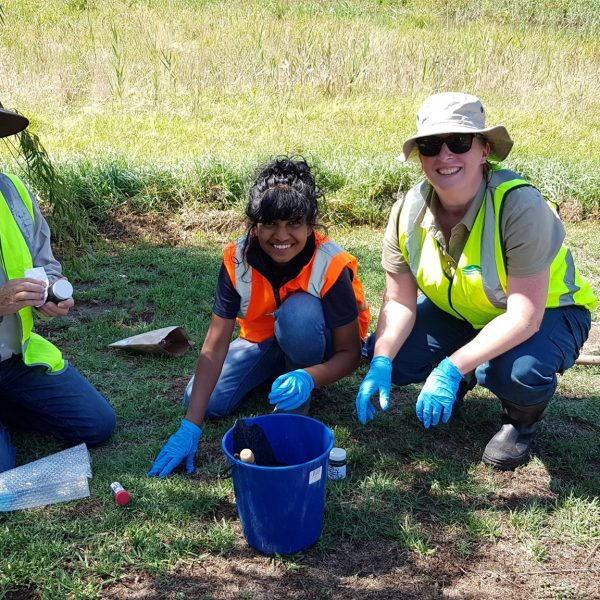 Pesticide Detectives and Waterwatch Volunteers monitoring in the waterways of the Corangamite region.