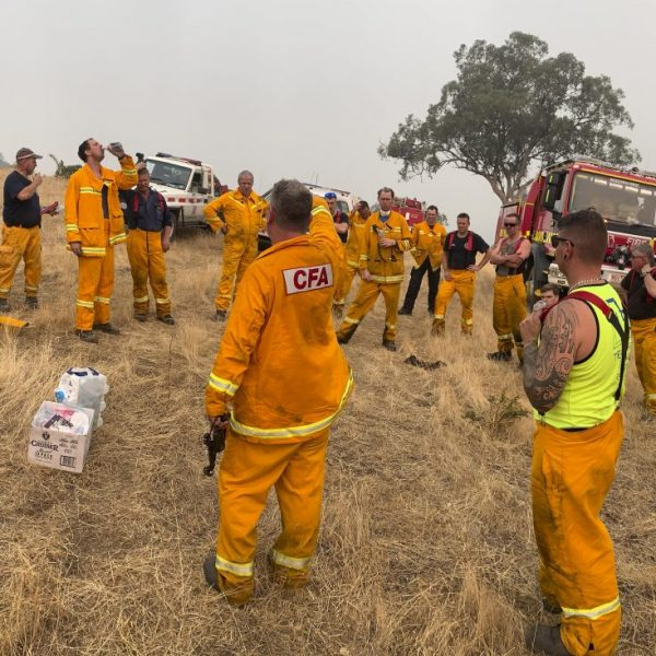 Group After Action Review on the fire ground following the McFarlands Hill Fire on 14th January 2020.